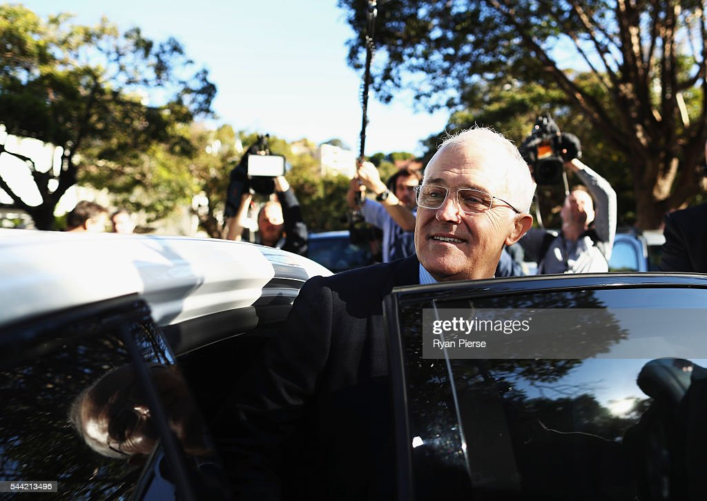 Prime Minister <a gi-track='captionPersonalityLinkClicked' href=/galleries/search?phrase=Malcolm+Turnbull&family=editorial&specificpeople=2125595 ng-click='$event.stopPropagation()'>Malcolm Turnbull</a> leaves after voting in Double Bay in his own electorate of Wentworth on July 2, 2016 in Sydney, Australia. After 8 official weeks of campaigning, incumbent Prime Minister and Liberal party leader, <a gi-track='captionPersonalityLinkClicked' href=/galleries/search?phrase=Malcolm+Turnbull&family=editorial&specificpeople=2125595 ng-click='$event.stopPropagation()'>Malcolm Turnbull</a> will cast his vote and await results as Australians head to the polls to elect the 45th Parliament.