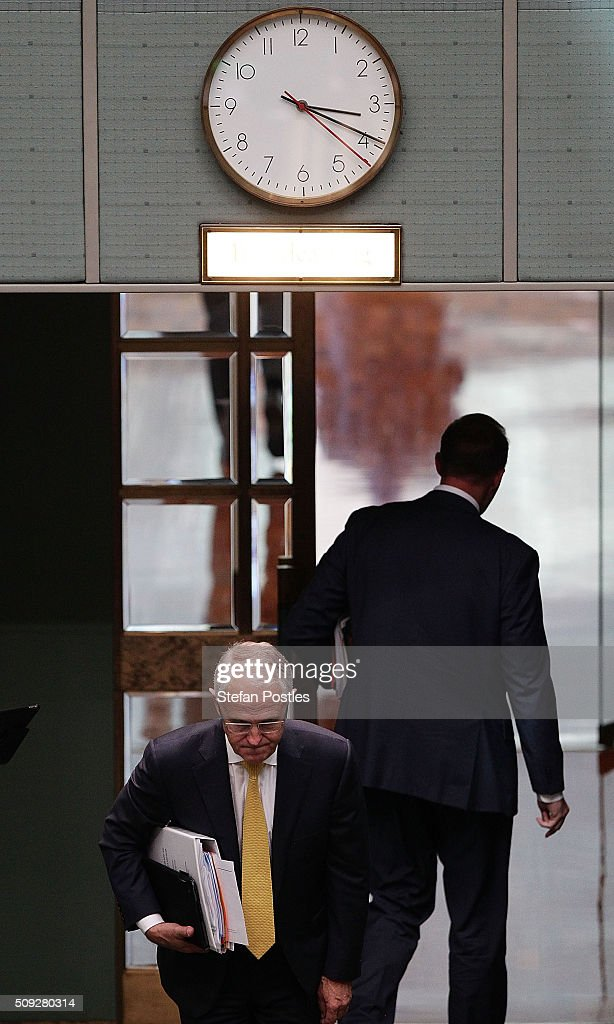 Prime Minister <a gi-track='captionPersonalityLinkClicked' href=/galleries/search?phrase=Malcolm+Turnbull&family=editorial&specificpeople=2125595 ng-click='$event.stopPropagation()'>Malcolm Turnbull</a> leaves House of Representatives question time at Parliament House on February 10, 2016 in Canberra, Australia.