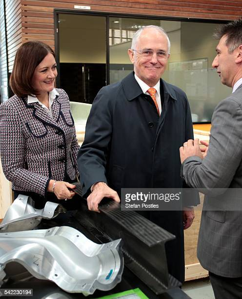 Prime Minister Malcolm Turnbull lifts carbon fibre at Quickstep Technologies an advanced composite manufacturer on June 23 2016 in Geelong Australia...