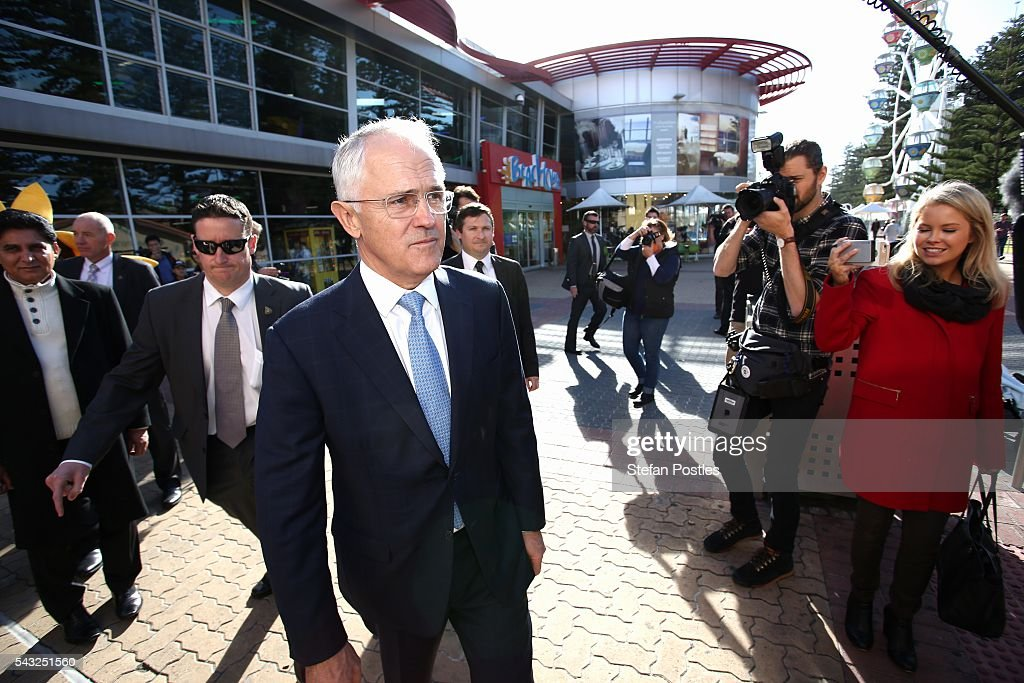 Prime Minister <a gi-track='captionPersonalityLinkClicked' href=/galleries/search?phrase=Malcolm+Turnbull&family=editorial&specificpeople=2125595 ng-click='$event.stopPropagation()'>Malcolm Turnbull</a> looks for his wife Lucy Turnbull outside the Glenelg Surf Life Saving Club on June 27, 2016 in Adelaide, Australia. The Prime Minister opened defence contractor Raytheon's new naval and integration headquarters.