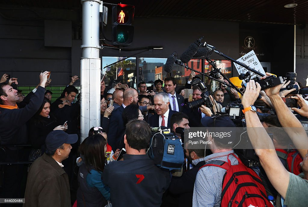 Prime Minister <a gi-track='captionPersonalityLinkClicked' href=/galleries/search?phrase=Malcolm+Turnbull&family=editorial&specificpeople=2125595 ng-click='$event.stopPropagation()'>Malcolm Turnbull</a> meet voters in Burwood as he campaigns in the electorate of Reid on July 1, 2016 in Sydney, Australia.