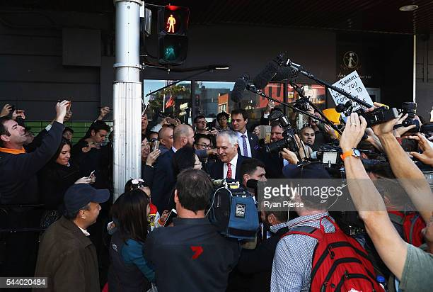 Prime Minister Malcolm Turnbull meet voters in Burwood as he campaigns in the electorate of Reid on July 1 2016 in Sydney Australia