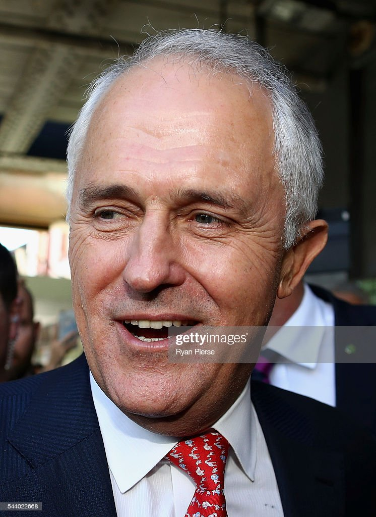 Prime Minister <a gi-track='captionPersonalityLinkClicked' href=/galleries/search?phrase=Malcolm+Turnbull&family=editorial&specificpeople=2125595 ng-click='$event.stopPropagation()'>Malcolm Turnbull</a> meets voters in Burwood as he campaigns in the electorate of Reid on July 1, 2016 in Sydney, Australia.
