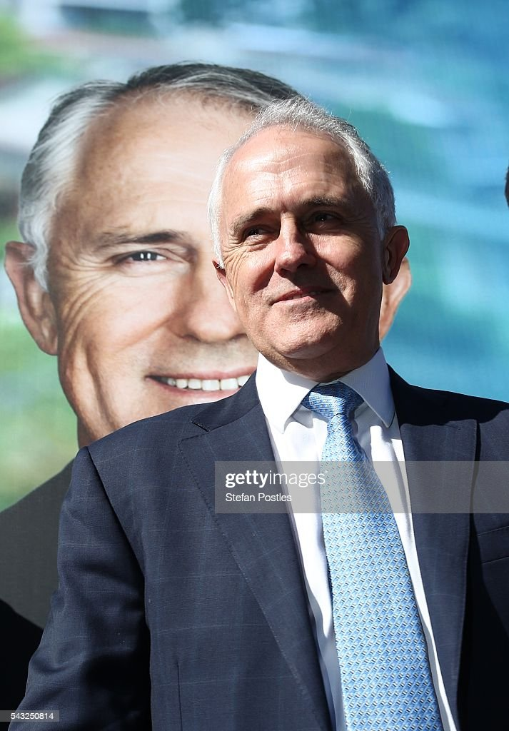 Prime Minister <a gi-track='captionPersonalityLinkClicked' href=/galleries/search?phrase=Malcolm+Turnbull&family=editorial&specificpeople=2125595 ng-click='$event.stopPropagation()'>Malcolm Turnbull</a> poses for the media outside the Glenelg Surf Lif Saving Club on June 27, 2016 in Adelaide, Australia. The Prime Minister opened defence contractor Raytheon's new naval and integration headquarters.