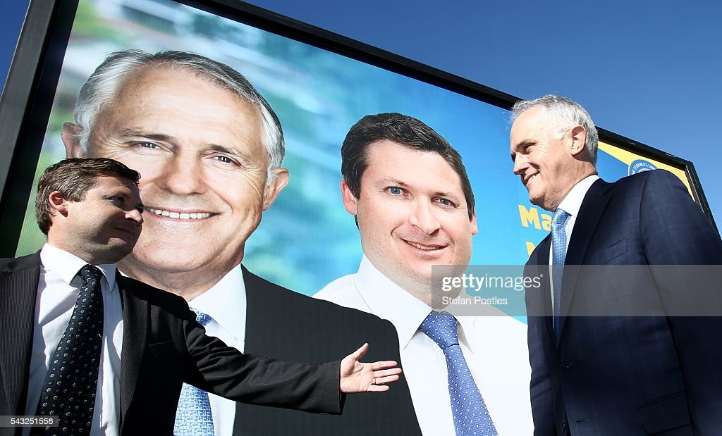 Prime Minister <a gi-track='captionPersonalityLinkClicked' href=/galleries/search?phrase=Malcolm+Turnbull&family=editorial&specificpeople=2125595 ng-click='$event.stopPropagation()'>Malcolm Turnbull</a> poses for the media with Liberal Member for Hindmarsh Matthew Williams outside the Glenelg Surf Life Saving Club on June 27, 2016 in Adelaide, Australia. The Prime Minister opened defence contractor Raytheon's new naval and integration headquarters.