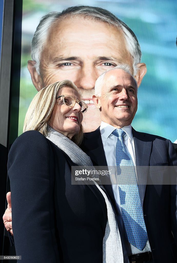 Prime Minister <a gi-track='captionPersonalityLinkClicked' href=/galleries/search?phrase=Malcolm+Turnbull&family=editorial&specificpeople=2125595 ng-click='$event.stopPropagation()'>Malcolm Turnbull</a> poses for the media with wife <a gi-track='captionPersonalityLinkClicked' href=/galleries/search?phrase=Lucy+Turnbull&family=editorial&specificpeople=240445 ng-click='$event.stopPropagation()'>Lucy Turnbull</a> outside the Glenelg Surf Lif Saving Club on June 27, 2016 in Adelaide, Australia. The Prime Minister opened defence contractor Raytheon's new naval and integration headquarters.