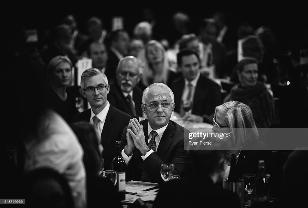 This image was processed using digital filters) Prime Minister <a gi-track='captionPersonalityLinkClicked' href=/galleries/search?phrase=Malcolm+Turnbull&family=editorial&specificpeople=2125595 ng-click='$event.stopPropagation()'>Malcolm Turnbull</a> prepares to deliver his election address to the National Press Club on June 30, 2016 in Canberra, Australia. The Prime Minister's speech focused heavily on the economy, with <a gi-track='captionPersonalityLinkClicked' href=/galleries/search?phrase=Malcolm+Turnbull&family=editorial&specificpeople=2125595 ng-click='$event.stopPropagation()'>Malcolm Turnbull</a> committing to stick to the Government's economic plan, grow the economy and create jobs should he win the election on Saturday July 2.