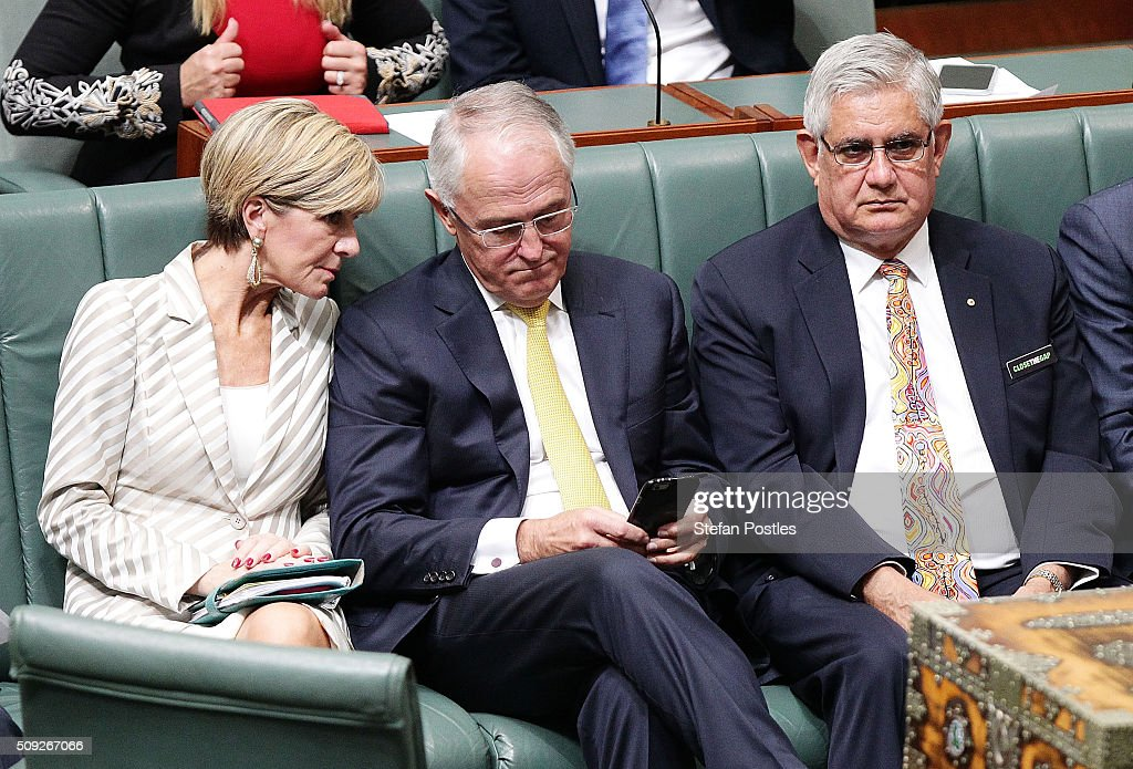 Prime Minister <a gi-track='captionPersonalityLinkClicked' href=/galleries/search?phrase=Malcolm+Turnbull&family=editorial&specificpeople=2125595 ng-click='$event.stopPropagation()'>Malcolm Turnbull</a> sits with his colleagues after delivering the Closing the Gap report card in the House of Representatives at Parliament House on February 10, 2016 in Canberra, Australia.