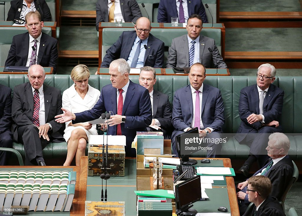 Prime Minister Malcolm Turnbull speaks about Minister for Trade and Investment Andrew Robb and Deputy Prime Minister Warren Truss after he announced his retirement in the House of Representatives on February 11, 2016 in Canberra, Australia. Nationals Leader and Deputy Prime Minister Warren Truss and Trade Minister Andrew Robb will retire at the next election.
