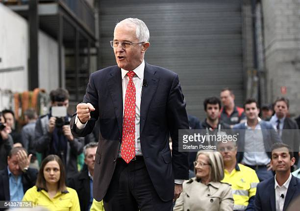 Prime Minister Malcolm Turnbull speaks at a campaign event at Watkins Steel on June 28 2016 in Brisbane Australia Treasurer Scott Morrison will...