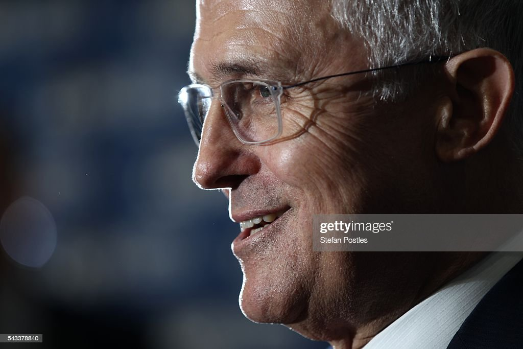 Prime Minister <a gi-track='captionPersonalityLinkClicked' href=/galleries/search?phrase=Malcolm+Turnbull&family=editorial&specificpeople=2125595 ng-click='$event.stopPropagation()'>Malcolm Turnbull</a> speaks at a campaign event at Watkins Steel on June 28, 2016 in Brisbane, Australia. Treasurer Scott Morrison will release the Coalition's costings this afternoon.