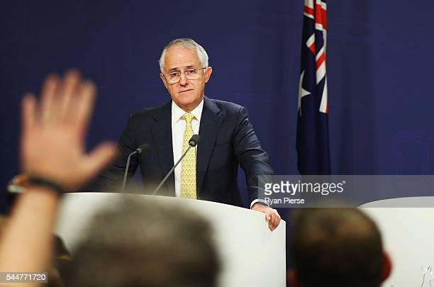 Prime Minister Malcolm Turnbull speaks during a press conference at the Commonwealth Parliament Offices on July 3 2016 in Sydney Australia The...