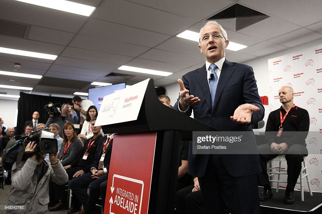 Prime Minister <a gi-track='captionPersonalityLinkClicked' href=/galleries/search?phrase=Malcolm+Turnbull&family=editorial&specificpeople=2125595 ng-click='$event.stopPropagation()'>Malcolm Turnbull</a> speaks during a town hall style discussion with Defence Industry contractors on June 27, 2016 in Adelaide, Australia. The Prime Minister opened defence contractor Raytheon's new naval and integration headquarters.