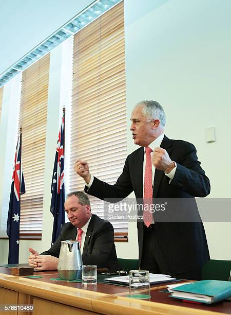 Prime Minister Malcolm Turnbull speaks during the Coalition Party meeting at Parliament House on July 18 2016 in Canberra Australia Prime Minister...