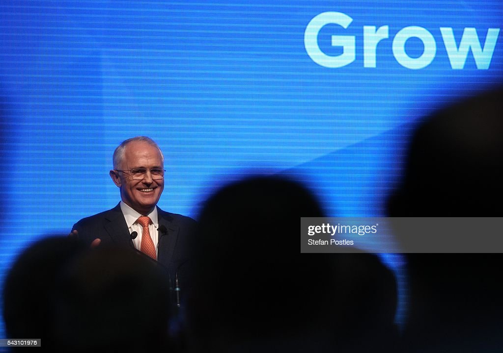 Prime Minister <a gi-track='captionPersonalityLinkClicked' href=/galleries/search?phrase=Malcolm+Turnbull&family=editorial&specificpeople=2125595 ng-click='$event.stopPropagation()'>Malcolm Turnbull</a> speaks during the Liberal Party 2016 Federal Campaign Launch on June 26, 2016 in Sydney, Australia. <a gi-track='captionPersonalityLinkClicked' href=/galleries/search?phrase=Malcolm+Turnbull&family=editorial&specificpeople=2125595 ng-click='$event.stopPropagation()'>Malcolm Turnbull</a>'s speech centred on the importance of the economic plan and stability, especially in the wake of Brexit.