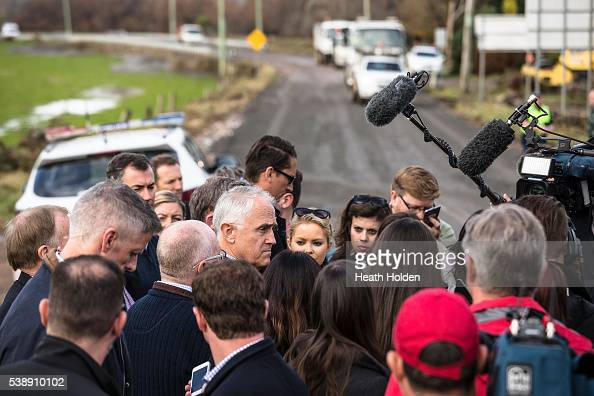 Prime Minister Malcolm Turnbull speaks to media during his visit to the flood devestated areas in NW Tasmania on June 9 2016 in Devonport Australia...