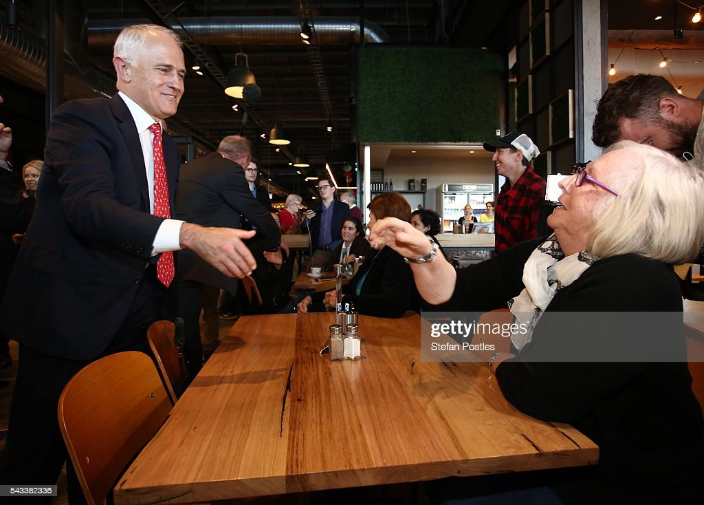 Prime Minister <a gi-track='captionPersonalityLinkClicked' href=/galleries/search?phrase=Malcolm+Turnbull&family=editorial&specificpeople=2125595 ng-click='$event.stopPropagation()'>Malcolm Turnbull</a> speaks to members of the public at Westfield North Lakes on June 28, 2016 in Brisbane, Australia. Treasurer Scott Morrison will release the Coalition's costings this afternoon.