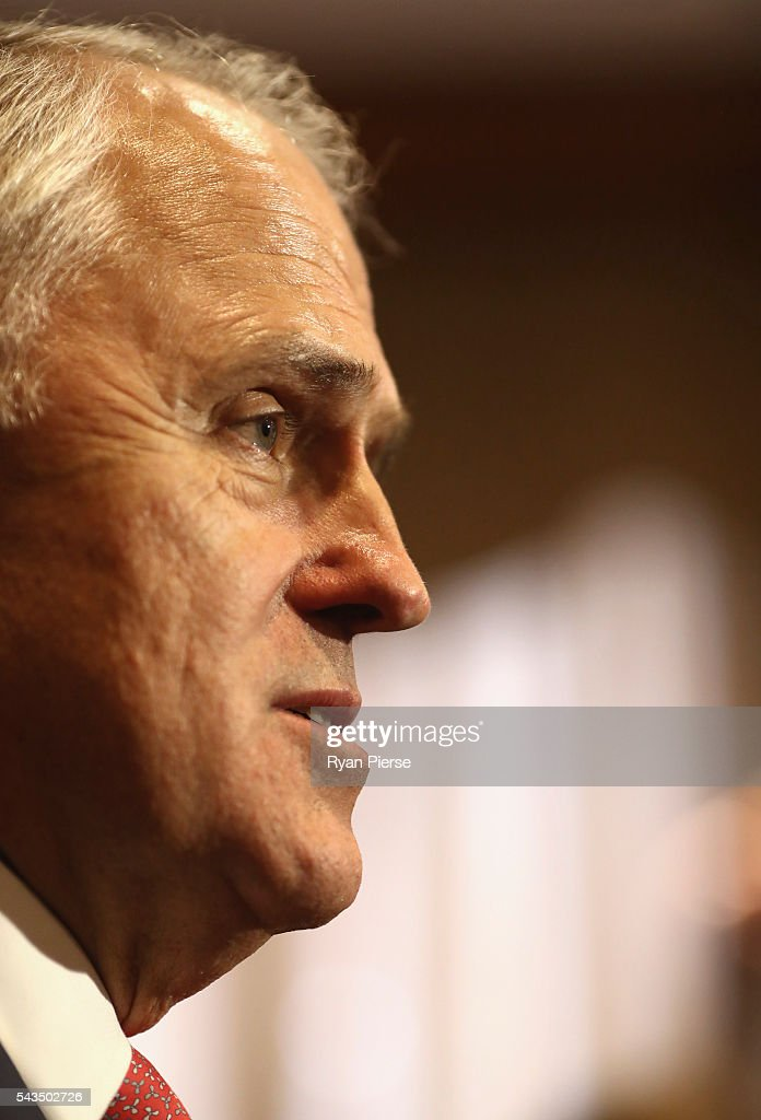 Prime Minister Malcolm Turnbull speaks to the media at Sunny Harbour Yum Cha on June 29, 2016 in Sydney, Australia. The Liberal Party given $40,000 in campaign funds to charity after the party inappropriately used Lucy Turnbull's position as the head of a NSW Government planning body to promote two fundraisers in Sydney. Mrs Turnbull believed she had been invited as the Prime Minister's wife.