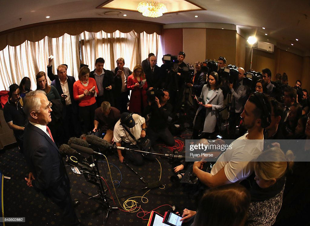 Prime Minister <a gi-track='captionPersonalityLinkClicked' href=/galleries/search?phrase=Malcolm+Turnbull&family=editorial&specificpeople=2125595 ng-click='$event.stopPropagation()'>Malcolm Turnbull</a> speaks to the media at Sunny Harbour Yum Cha on June 29, 2016 in Sydney, Australia. The Liberal Party given $40,000 in campaign funds to charity after the party inappropriately used Lucy Turnbull's position as the head of a NSW Government planning body to promote two fundraisers in Sydney. Mrs Turnbull believed she had been invited as the Prime Minister's wife.