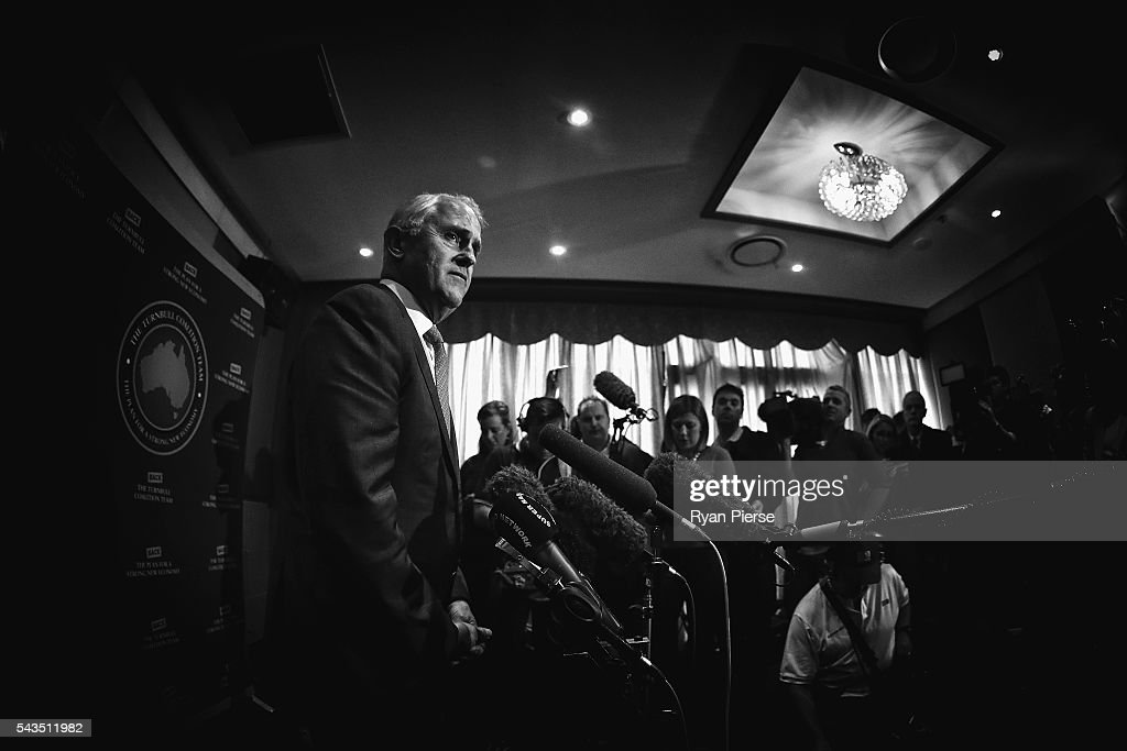 This image was processed using digital filters) Prime Minister <a gi-track='captionPersonalityLinkClicked' href=/galleries/search?phrase=Malcolm+Turnbull&family=editorial&specificpeople=2125595 ng-click='$event.stopPropagation()'>Malcolm Turnbull</a> speaks to the media at Sunny Harbour Yum Cha on June 29, 2016 in Sydney, Australia.