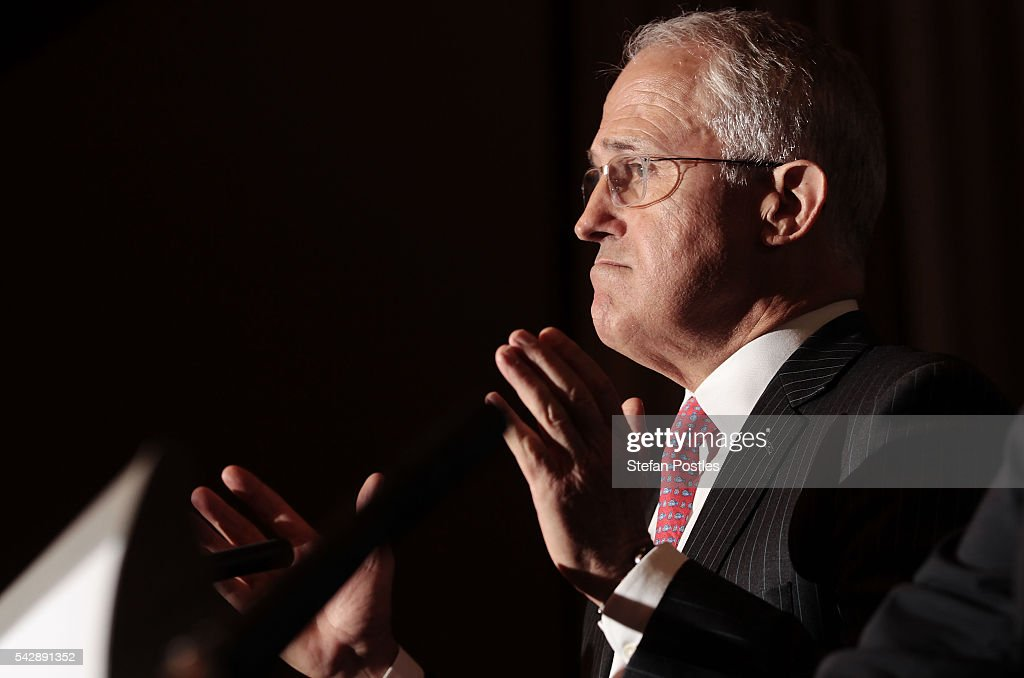 Prime Minister <a gi-track='captionPersonalityLinkClicked' href=/galleries/search?phrase=Malcolm+Turnbull&family=editorial&specificpeople=2125595 ng-click='$event.stopPropagation()'>Malcolm Turnbull</a> speaks to the media during a joint press conference with Treasurer Scott Morrison on June 25, 2016 in Sydney, Australia. British citizens voted in a referendum (also known as the Brexit) to leave the European Union which has caused uncertainty across the world. Within hours of the result being announced the ASX lost almost A$50 billion before trading closed on Friday.