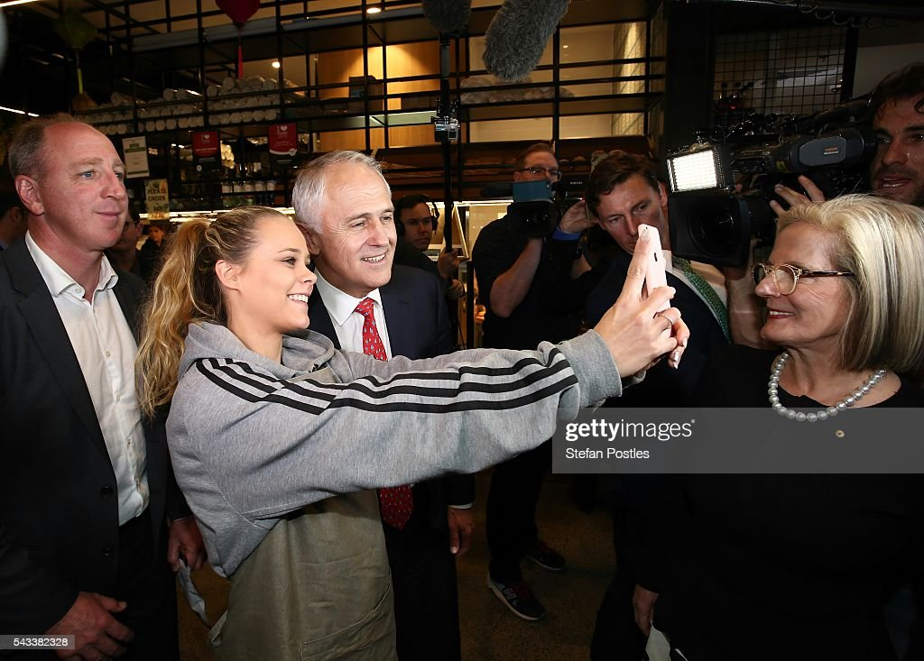 Prime Minister <a gi-track='captionPersonalityLinkClicked' href=/galleries/search?phrase=Malcolm+Turnbull&family=editorial&specificpeople=2125595 ng-click='$event.stopPropagation()'>Malcolm Turnbull</a> takes a selfie with a member of the public at Westfield North Lakes on June 28, 2016 in Brisbane, Australia. Treasurer Scott Morrison will release the Coalition's costings this afternoon.