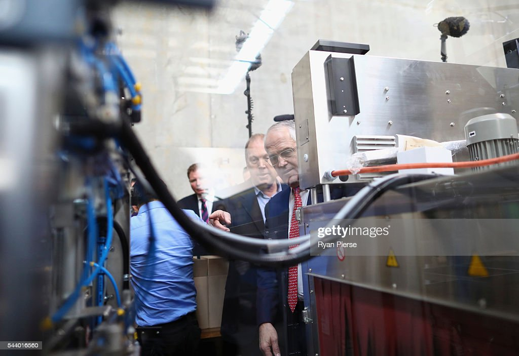 Prime Minister <a gi-track='captionPersonalityLinkClicked' href=/galleries/search?phrase=Malcolm+Turnbull&family=editorial&specificpeople=2125595 ng-click='$event.stopPropagation()'>Malcolm Turnbull</a> visits Robotic Automation in Newington as he campaigns in the electorate of Reid on July 1, 2016 in Sydney, Australia.