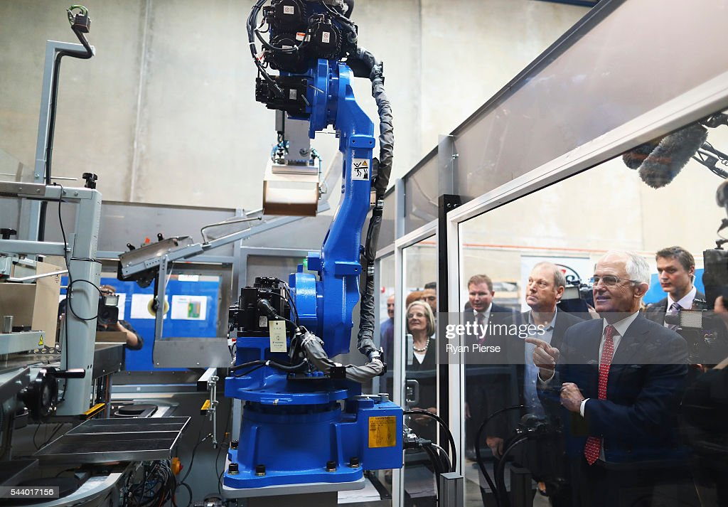 Prime Minister Malcolm Turnbull visits Robotic Automation in Newington as he campaigns in the electorate of Reid on July 1, 2016 in Sydney, Australia.