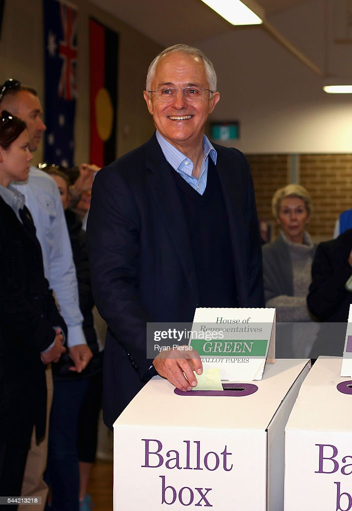 Prime Minister <a gi-track='captionPersonalityLinkClicked' href=/galleries/search?phrase=Malcolm+Turnbull&family=editorial&specificpeople=2125595 ng-click='$event.stopPropagation()'>Malcolm Turnbull</a> votes in Double Bay in his own electorate of Wentworth on July 2, 2016 in Sydney, Australia. After 8 official weeks of campaigning, incumbent Prime Minister and Liberal party leader, <a gi-track='captionPersonalityLinkClicked' href=/galleries/search?phrase=Malcolm+Turnbull&family=editorial&specificpeople=2125595 ng-click='$event.stopPropagation()'>Malcolm Turnbull</a> will cast his vote and await results as Australians head to the polls to elect the 45th Parliament.