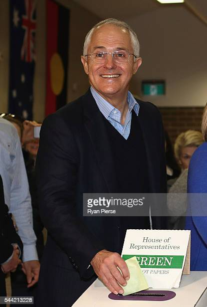 Prime Minister Malcolm Turnbull votes in Double Bay in his own electorate of Wentworth on July 2 2016 in Sydney Australia After 8 official weeks of...