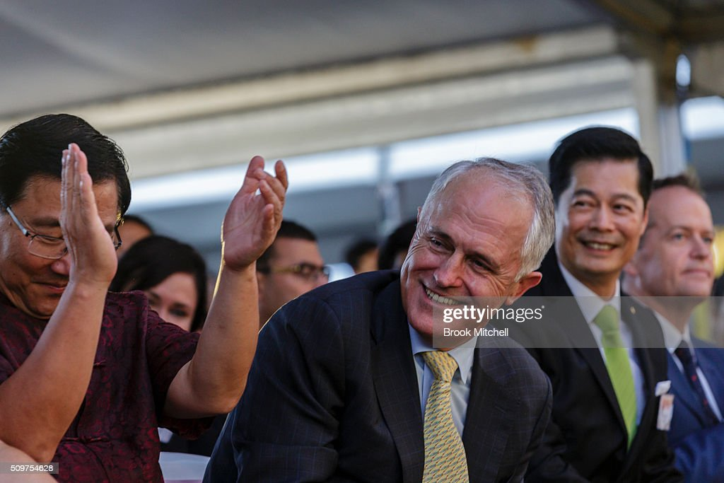 Prime Minister Malcom Turnbull at the Chinese New Year Lantern Festival at Tumbalong Park on February 12, 2016 in Sydney, Australia. The lighting of lanterns is a centuries old tradition that marks the end of the Chinese New Year Festival.