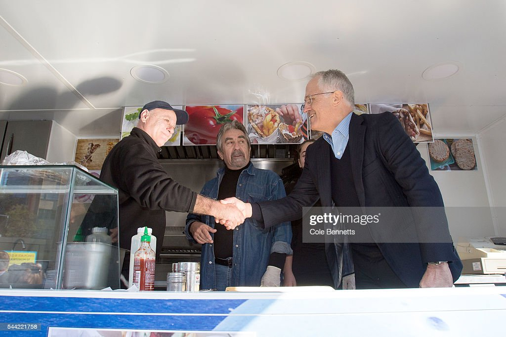 Prime Minister Malcom Turnbull goes into a food van to meet the vendors at the Parramatta Town Hall on July 2, 2016 in Parramatta, Australia. Voters head to the polls today to elect the 45th parliament of Australia.