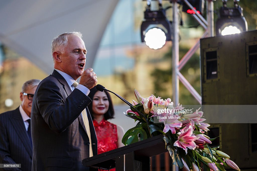 Prime Minister Malcom Turnbull speaks at the Chinese New Year Lantern Festival at Tumbalong Park on February 12, 2016 in Sydney, Australia. The lighting of lanterns is a centuries old tradition that marks the end of the Chinese New Year Festival.
