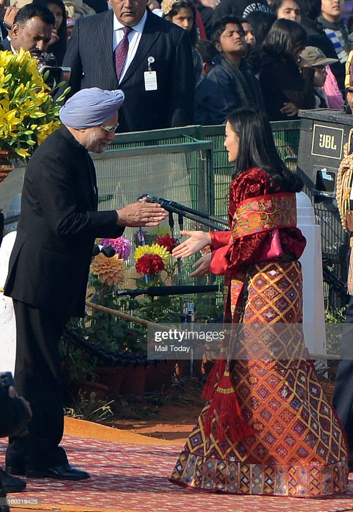 Prime Minister Manmohan Singh and Bhutan Queen Jetsun Pema during 64th Republic Day celebrations in New Delhi on Saturday.