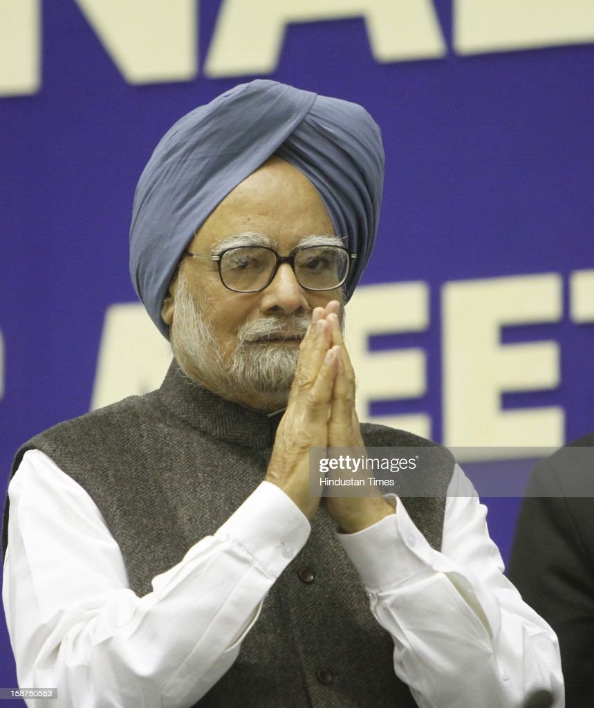 Prime Minister Manmohan Singh arrives to address the 57th National Development Council meeting on December 27, 2012 in New Delhi, India.