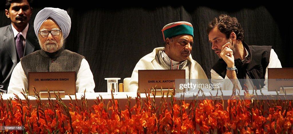 Prime Minister Manmohan Singh, Congress leader Rahul Gandhi and Defence Minister A K Antony during the Chintan Shivir at Birla Auditorium, Jaipur on January 18, 2013 in Rajasthan, India. The Congress' brain-storming session began in Jaipur today and the focus is on the 2014 elections and Rahul Gandhi's role in leading the party in the battle. The ruling party hopes to emerge from the two-day-long session armed with strategy on, among other things, how to reconnect with an angry urban middle class.