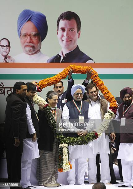 Prime Minister Manmohan Singh Congress President and UPA Chairperson Sonia Gandhi Congress vice president Rahul Gandhi and other leaders during All...