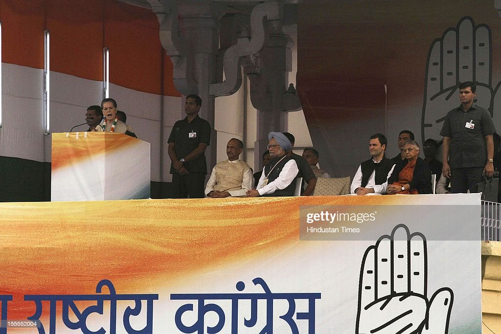 Prime Minister Manmohan Singh, Congress President Sonia Gandhi, General Secretary Rahul Gandhi, Delhi CM Sheila Dikshit and DPCC President JP Agarwal during the party's Maharally at Ramlila Maidan on November 04, 2012 in New Delhi, India. The rally is expected to set the agenda for the party's one-day brainstorming session at Surajkund on November 9 in which it plans to discuss the current political and economic situation.