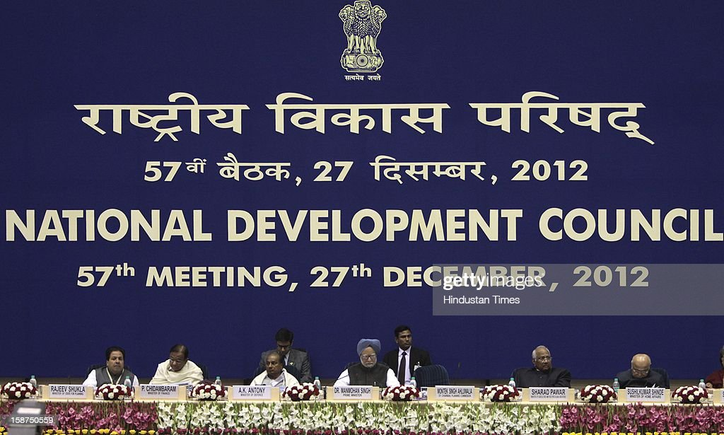 Prime Minister Manmohan Singh, Finance Minister P Chidambaram, Home Minister Sushilkumar Shinde, Planning Commission Deputy Chairman Montek Singh Alhuwalia and others at the 57th National Development Council (NDC) meeting on December 27, 2012 in New Delhi, India.