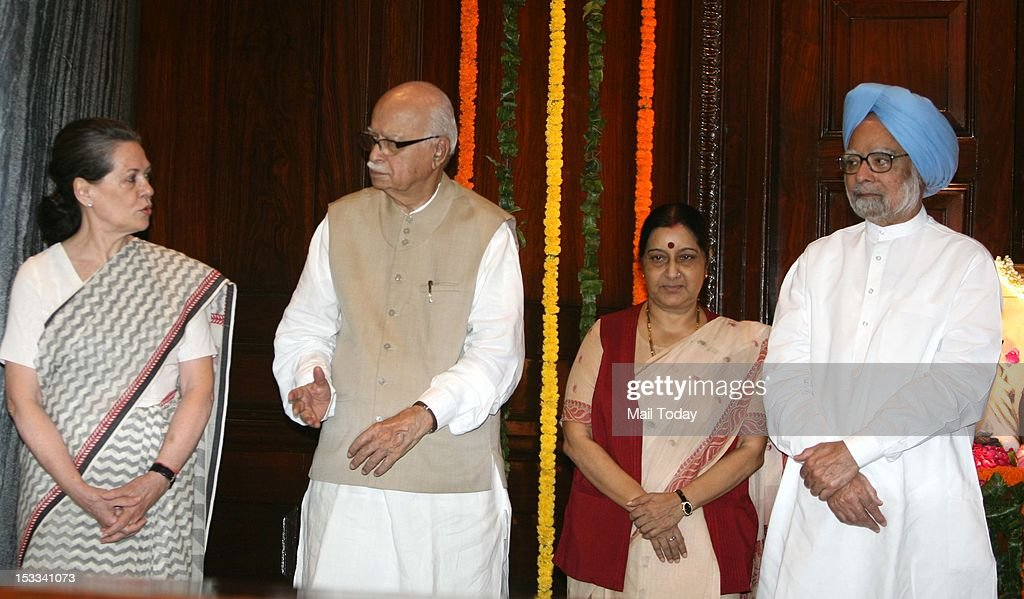 Prime Minister Manmohan Singh, Leader of Opposition in Lok Sabha Sushma Swaraj, senior BJP leader LK Advani and UPA Chairperson Sonia Gandhi during a function on the occasion of Mahatma Gandhi's 143rd birth anniversary at Parliament House in New Delhi on Tuesday.