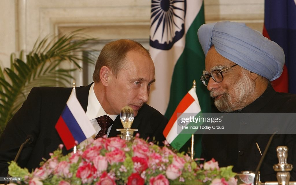 Prime Minister <a gi-track='captionPersonalityLinkClicked' href=/galleries/search?phrase=Manmohan+Singh&family=editorial&specificpeople=227120 ng-click='$event.stopPropagation()'>Manmohan Singh</a> meets Chairman of the Government of Russian Federation, Vladimir V Putin at Rashtrapati Bhavan in New Delhi on Friday, March 12, 2010.