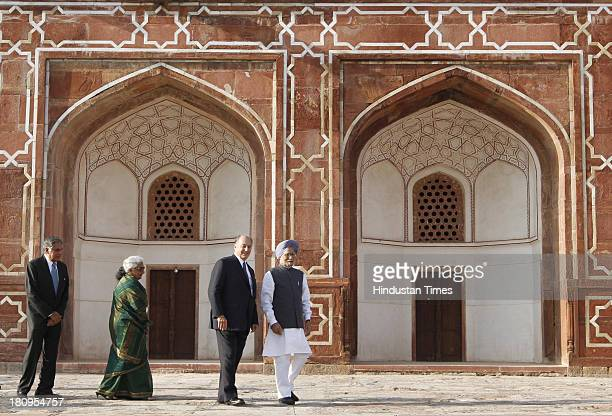 Prime Minister Manmohan Singh Prince Karim Aga Khan IV Ratan Tata and Union Minister for Culture Chandresh Kumari Katoch at a ceremony to mark the...