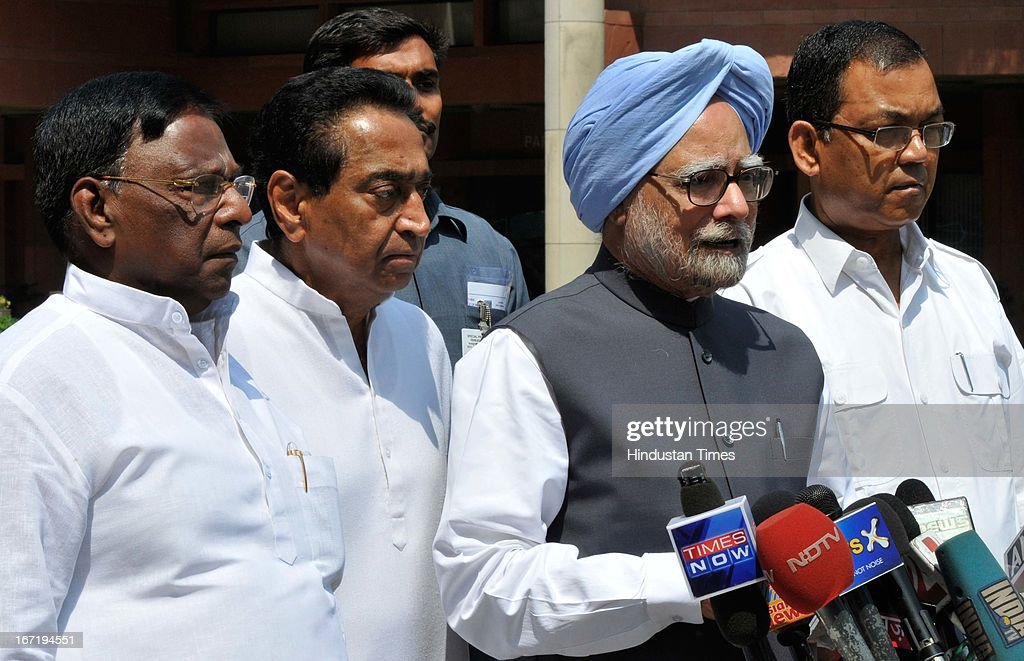 Prime Minister Manmohan Singh, Urban Development Minister Kamal Nath (C) and V. Narayanasamy (L) Minister of State PMO address media at Parliament before attending Parliament Budget Session on April 22, 2013 in New Delhi, India. Parliament saw a stormy start to the second half of the Budget session today with issues including coal scam, incidents of rape and alleged heckling of Mamata Banerjee rocking both Houses.