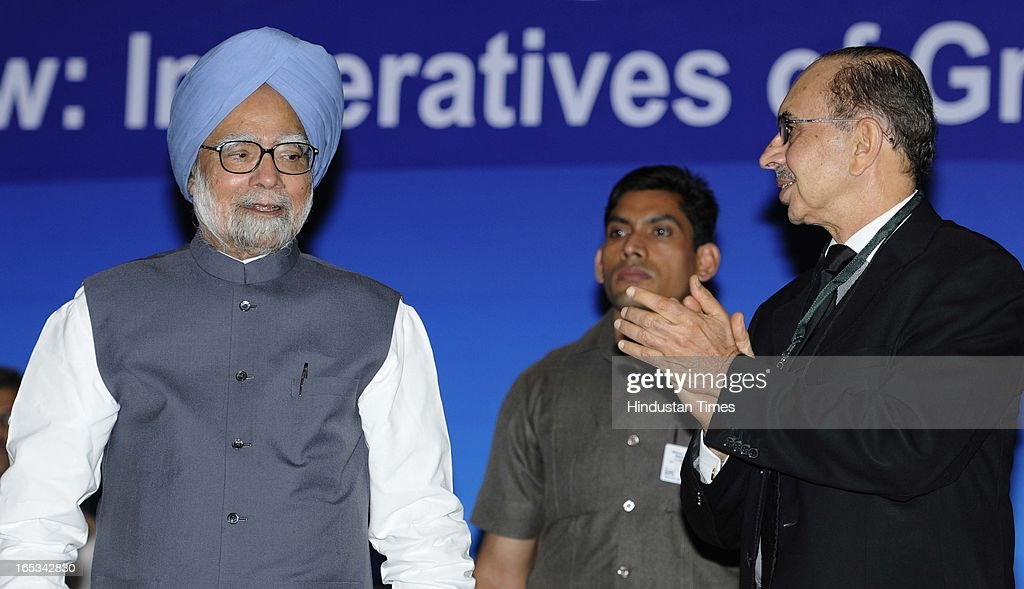 Prime Minister Manmohan Singh with CII President Adi Godrej during the CII Annual General Meeting and National Conference 2013 on April 3, 2013 in New Delhi, India. CII revealed that the theme has been designed keeping in mind the need for focusing on issues where industry can play a greater role in nation building and creating an enabling business environment,' said CII director general Chandrajit Banerjee.