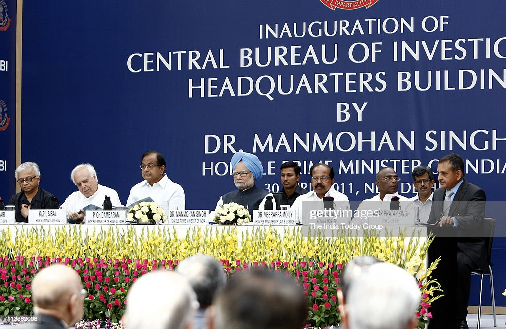 Prime Minister Manmohan Singh with TK Nair Kapil Sibal P Chidambaram Veerappa Moily V Narayansamy and CBI director Amar Pratap Singh during the...