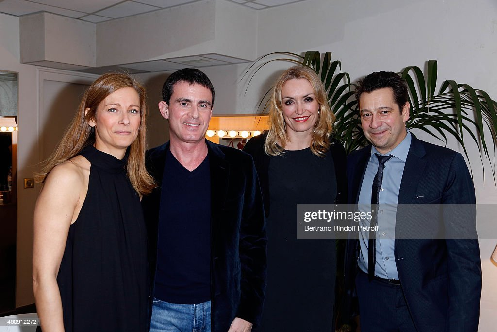 Prime Minister <a gi-track='captionPersonalityLinkClicked' href=/galleries/search?phrase=Manuel+Valls&family=editorial&specificpeople=2178864 ng-click='$event.stopPropagation()'>Manuel Valls</a> and his wife <a gi-track='captionPersonalityLinkClicked' href=/galleries/search?phrase=Anne+Gravoin&family=editorial&specificpeople=8536985 ng-click='$event.stopPropagation()'>Anne Gravoin</a>, Christelle Bardet and <a gi-track='captionPersonalityLinkClicked' href=/galleries/search?phrase=Laurent+Gerra&family=editorial&specificpeople=538435 ng-click='$event.stopPropagation()'>Laurent Gerra</a> attend in Backstage the <a gi-track='captionPersonalityLinkClicked' href=/galleries/search?phrase=Laurent+Gerra&family=editorial&specificpeople=538435 ng-click='$event.stopPropagation()'>Laurent Gerra</a> Show, at Palais des Sports on December 27, 2014 in Paris, France.