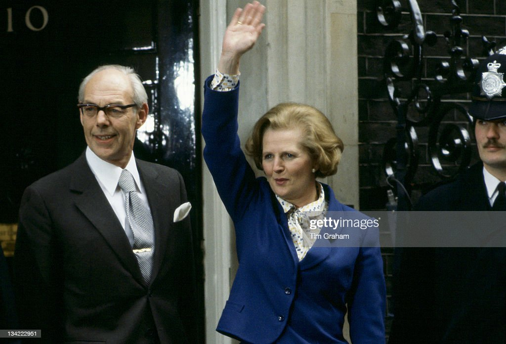 Prime Minister <a gi-track='captionPersonalityLinkClicked' href=/galleries/search?phrase=Margaret+Thatcher&family=editorial&specificpeople=159677 ng-click='$event.stopPropagation()'>Margaret Thatcher</a>, with husband <a gi-track='captionPersonalityLinkClicked' href=/galleries/search?phrase=Denis+Thatcher&family=editorial&specificpeople=93286 ng-click='$event.stopPropagation()'>Denis Thatcher</a>, waves to well-wishers outside Number 10 Downing Street following her election victory, on May 4, 1979 in London, England.