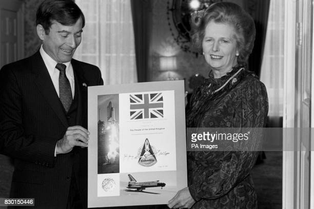 Prime Minister Margaret Thatcher with John Young Commander of the Colombia Space Shuttle at 10 Downing Street London