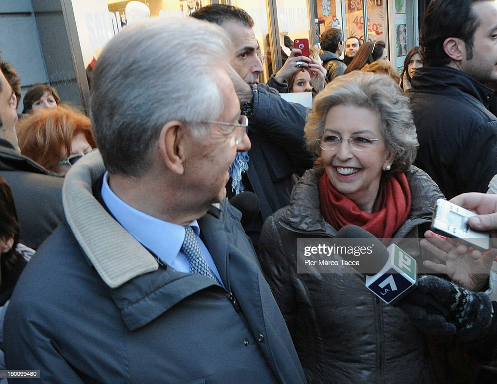 Prime Minister <a gi-track='captionPersonalityLinkClicked' href=/galleries/search?phrase=Mario+Monti&family=editorial&specificpeople=632091 ng-click='$event.stopPropagation()'>Mario Monti</a> and his wife Elsa Antonioli sighting in Milan on January 26, 2013 in Milan, Italy.