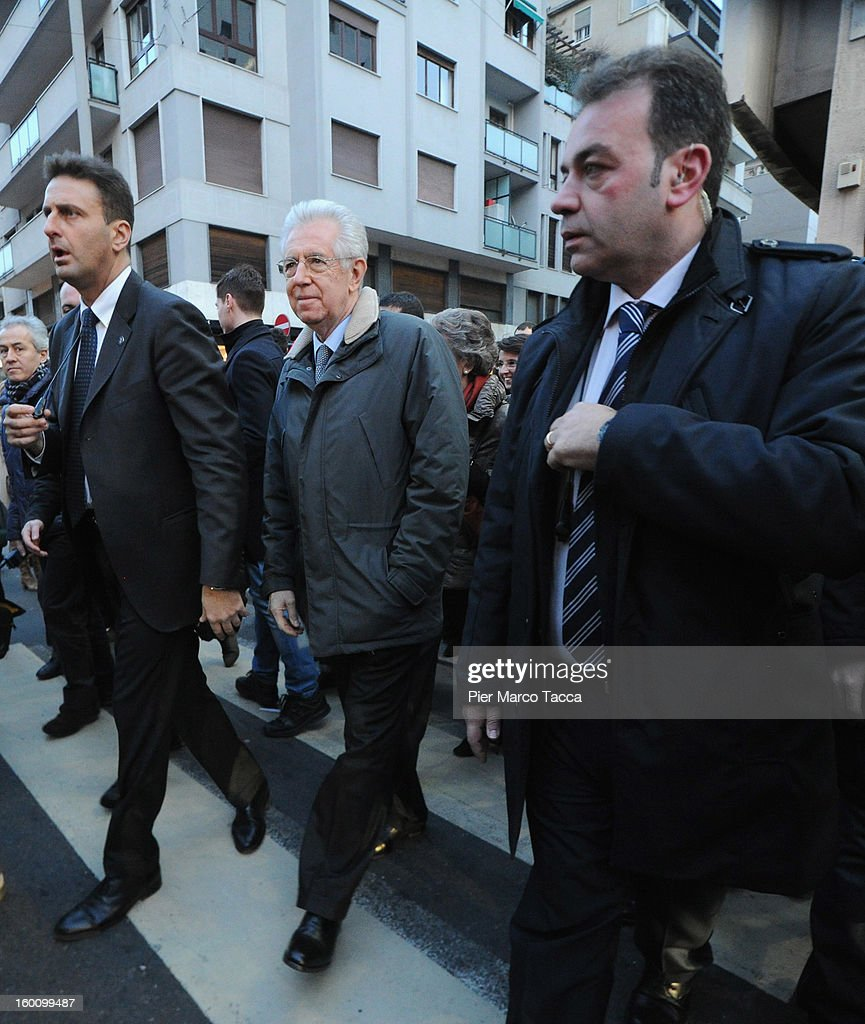 Prime Minister <a gi-track='captionPersonalityLinkClicked' href=/galleries/search?phrase=Mario+Monti&family=editorial&specificpeople=632091 ng-click='$event.stopPropagation()'>Mario Monti</a> sighting in Milan on January 26, 2013 in Milan, Italy.